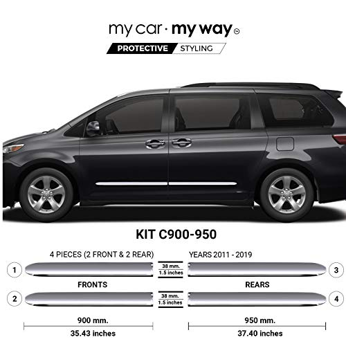 MY CAR MY WAY (Fits) Toyota Sienna 2011-2019 Chrome Body Side Molding Cover Trim Door Protector