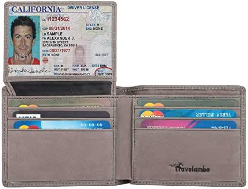 Travelambo Genuine Leather RFID Blocking Wallets Mens Wallet Bifold
