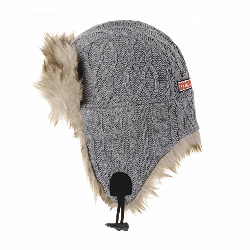 WITHMOONS Ear Flap Cap Bomber Hat Knitted Twisted Cable Beanie Trooper AC7142 (Grey)