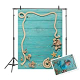 Allenjoy 3x5ft Thin Vinyl Wood Plank Backdrop Sea Green Sailboat Deck Board Rigging Parts Undersea Pattern Background for Photography or Decoration