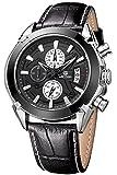 Megir Men Black Military Pilot Multifunction Leather Quartz Wrist Watches