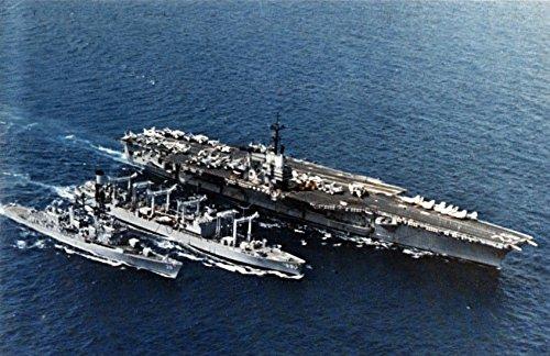 LAMINATED POSTER The U.S. Navy fleet oiler USS Canisteo (AO-99) refueling the aircraft carrier USS Independence (Us Aircraft Carrier Fleet)