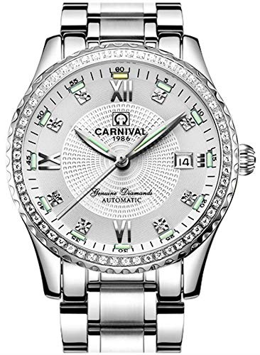 Carnival Luxury Mens Luminous Watch Weekly Waterproof Stainless Steel Business Automatic Mechanical Watch (Silver White) ()