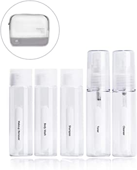 9-Piece Pack All Toiletry Travel-Size Bottle Set with Zip Bag