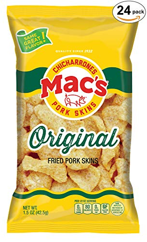 k Skins - Low Carb, Keto Friendly Snack - Crunchy Chicharrones/Pork Rinds (1.5 oz bags, 24ct) ()