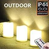Set of 3 Outdoor IP44 Warm White LED Rainproof Waterproof Flameless Battery LED Pillar Candles with Remote and Timer, Plastic, Won't Melt, Weather Resistant Design 3 x 4', Timer 24hours