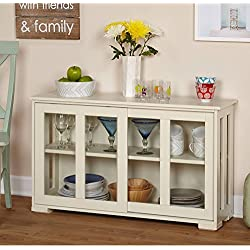 Sliding Tempered Glass Doors Stackable Storage Cabinet, Multiple Colors ( Espresso Or Antique White), Stackable Cabinet Option, With One Adjustable Shelf And Sliding Doors