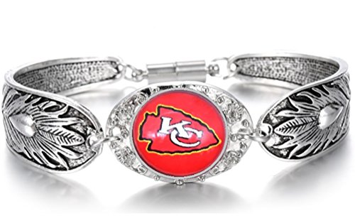 Devastating Designs Women's Tibetian Sterling Silver Kansas City Chiefs Bracelet Football Gift
