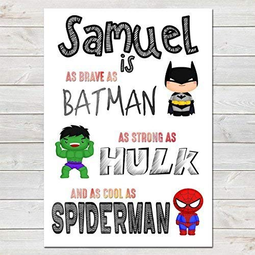 Little boys superhero PRINT ONLY a4 Gift Picture wall art bedroom