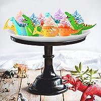 Howaf Dinosaurio Cupcake Topper de Tarta Magdalenas Decoración y Doble Cara Cupcake Wrappers para Niños Infantiles Fiestas de Cumpleaños Decoración ...