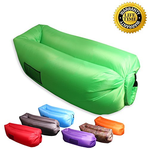 XYH Inflatable Lounger Couch, Portable Blow Up Lounge Chair, Pool Air Hammock, Air Sofa and Pool Float Ships Fast, Waterproof Wind Breeze Bean Bag, Fast Inflate Lounger for Beach, Camping.