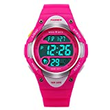 Hiwatch Kids Sport Watch Outdoor Waterproof Swimming LED Digital Watch with Alarm Back Light Stopwatch for Boys Girls 5+ Years Old Blue, Best Gift for Kids Christmas (Pink)