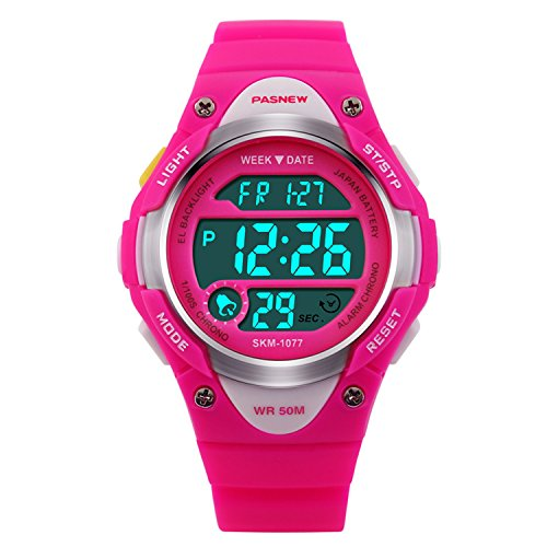 Price comparison product image HIwatch Kids Sport Watch Waterproof Swimming LED Digital Watch with Alarm Back Light Stopwatch for Boys Girls 7+ Years Old Pink, Best Christmas Gift for Kids Children