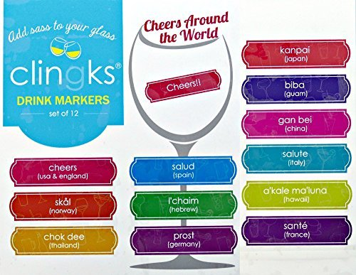Clingks 12 Drink Markers - CHEERS AROUND THE WORLD - Fun Alternative to Wine Charms by Clingks