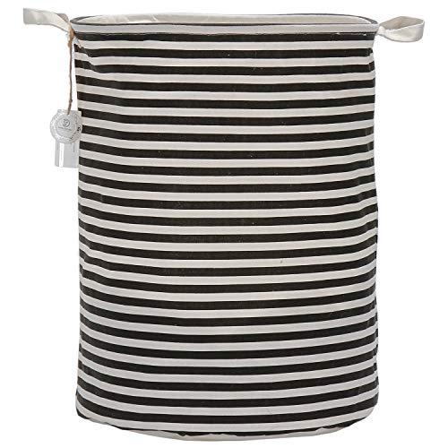 Sea Team 19.7 Large Sized Waterproof Coating Ramie Cotton Fabric Folding Laundry Hamper Bucket Cylindric Burlap Canvas Storage Basket with Stylish Black & White Stripe Design