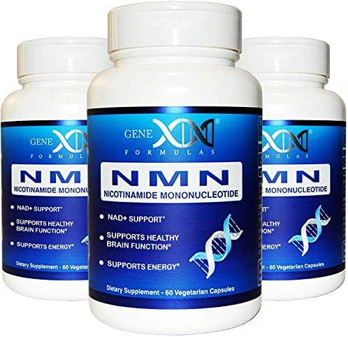 NMN Supplement 250mg Serving 3Pack Nicotinamide Mononucleotide to Boost NAD+ Levels for DNA Repair Works Best When Paired with Resveratrol (2X 125mg caps 60 ct per Bottle)