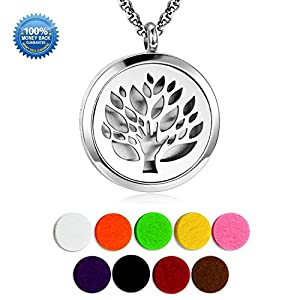 Essential Oil Diffuser Family Tree Necklace Stainless Steel Aromatherapy Diffuser Locket 9 Refill Pads