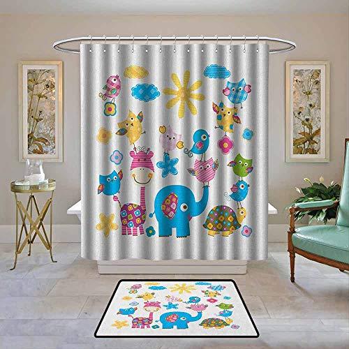 Kenneth Camilla01 Polyester Shower Curtain, Nursery,Cute Animals Cartoon Style Happy Dancing Animals Elephant Birds Owls, Sky Blue Pink Marigold,Shower Curtains Set with 12 Hooks 62
