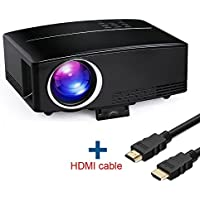 Full HD 1080P Video Projector, Boscheng LCD Portable Home Cinema Projector High Brightness Mini Movie Projector with HDMI VGA USB AV Ports For Home Cinema Entertainment