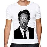 Mazumi8 Robert downey jr Smiley Fun T-Shirt Size M White