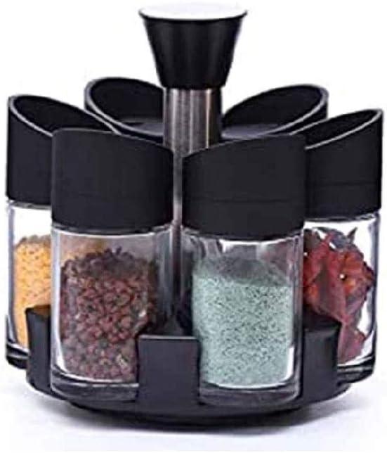 SCDZS 7 Jar Rotatorio Estante de Especia Organizador, Rotar encimera Hierbas y Especias Estante Organizador con 7 Botellas Tarro de Cristal