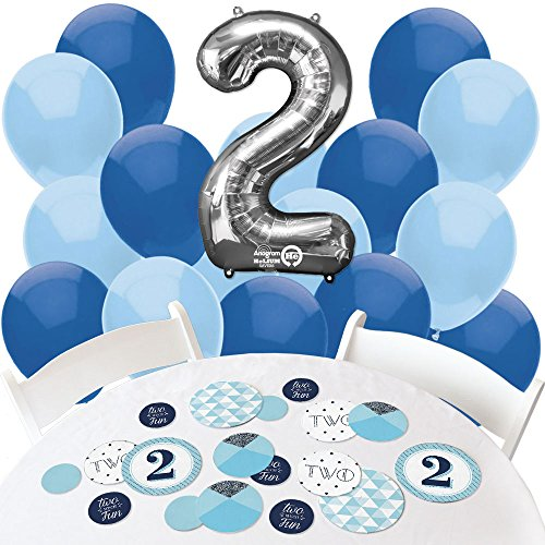 Two Much Fun - Boy - Confetti and Balloon 2nd Birthday Party Decorations - Combo Kit