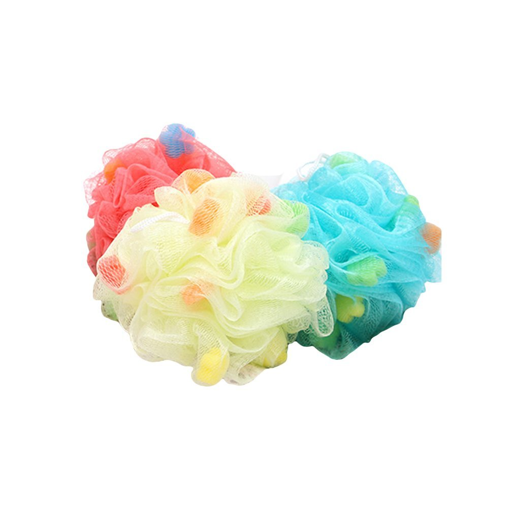 Healifty Badeschwamm Bad Luffa Dusche Schwämme Dusche Mesh Pouf Körper Scrubber Ball 3 Stück (Zufällige Farbe)