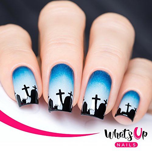 (Whats Up Nails - Graveyard Vinyl Stencils for Nail Art Design (2 Sheets, 40 Stencils)