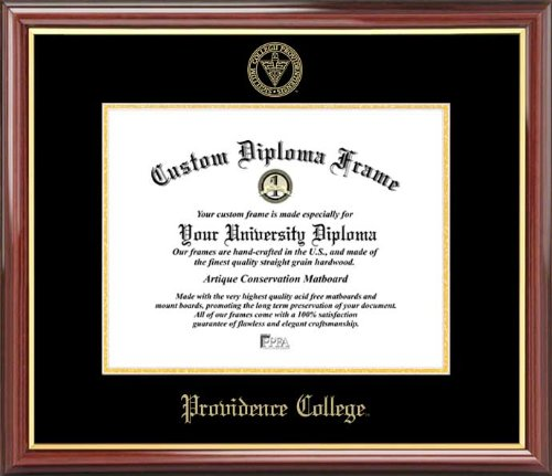 Diploma Frame Embossed Seal Mahogany Gold Trim Laminated Visuals Providence College Friars