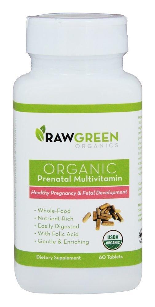 Raw Green Organics - Organic Prenatal Multivitamin - Healthy Pregnancy & Fetal Development - 60 Tablets