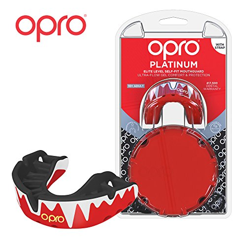 OPRO Mouthguard Adult Custom-Fit Platinum Level Gum Shield for Ball, Combat and Stick Sports - 18 Month Dental Warranty (Ages 7+)