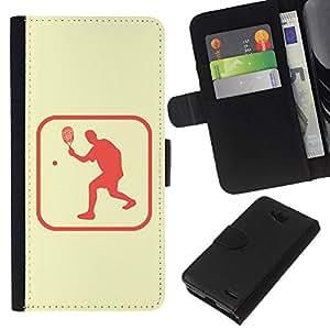 All Phone Most Case / Oferta Especial Cáscara Funda de cuero Monedero Cubierta de proteccion Caso / Wallet Case for LG OPTIMUS L90 // Tennis Sport Healthy Lifestyle Symbol Pink Sign