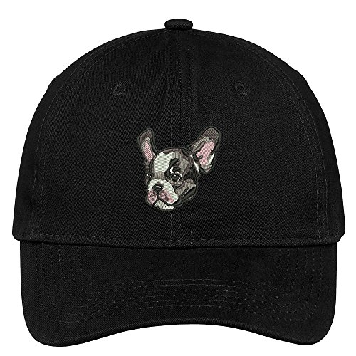 French Bulldog Head - Trendy Apparel Shop French Bulldog Head Embroidered Low Profile Soft Cotton Brushed Cap - Black