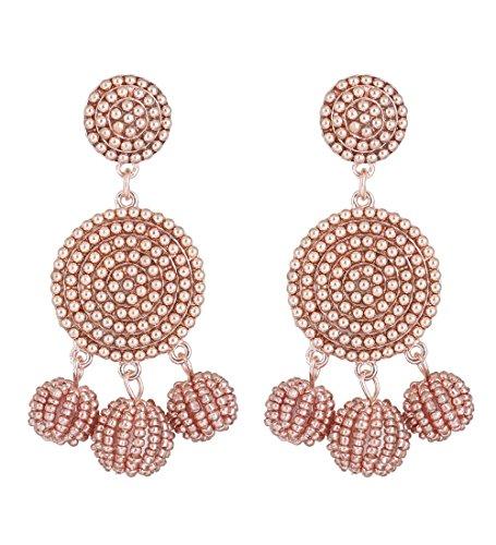 - ELEARD Beaded Earrings Elegant Soriee Dangle Bead Disc Bead 3 Ball Dangle Ear Drop Bead Tassel Earrings for Women Girl (rose gold)