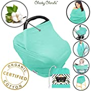☆ Organic Cotton ☆ Nursing Breastfeeding Cover - Car Seat Canopy - Stroller Canopies - Shopping Cart Covers - Baby Carseat - Shower Gift - for Boys & Girls Gifts Multi-Use (Turquoise)