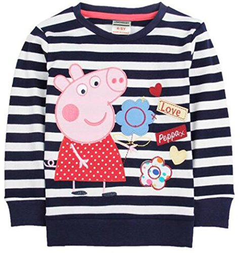 Yuting Girl Peppa Pig Cartoon Spring/fall T-shirt, Long Sleeve, Cotton,blue,1-6y (3/4y) for $<!--$13.99-->