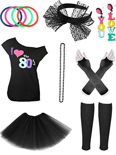 Jetec 80s Costume Accessories Set Necklace Bangle Leg