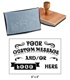 6'' x 4'' Extra Large Custom''Rocker Mount'' Wood Hand Rubber Stamp with Wooden Handle