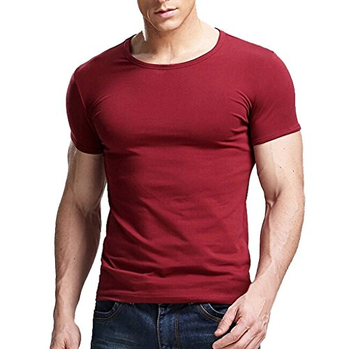 Xudian Short Sleeves Men T-shirt Crew-neck, US Size: Small, Asian Size: Large (Maroon)