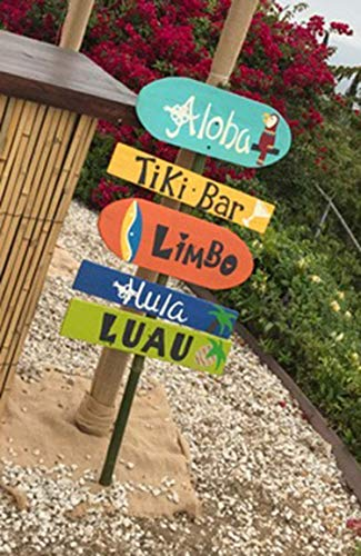 Luau Directional Pallet Wood Sign for Yard With Bamboo Stake Party Decorations B29 -