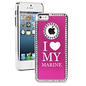 "Apple iPhone 6 (4.7"") Rhinestone Crystal Bling Hard Case Cover I Love My Marine (Hot Pink)"