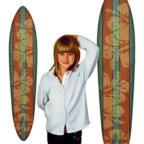Vintage Surfboard Growth Chart - Blue & Orange Hibiscus