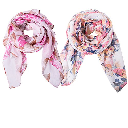 Shawls Fashion Scarves (Qossi 2 Pack women flower printed scarf fashion lightweight floral neck cover wrap shawl)