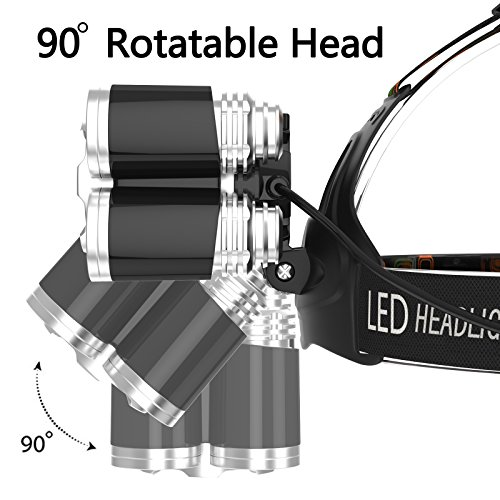 KUNSTWORKER LED Headlamp, 4 Modes Headlight with 5800mAh recharger Battery, T6 CREE Headlamp rechargeable for Hiking Camping Riding Fishing Hunting