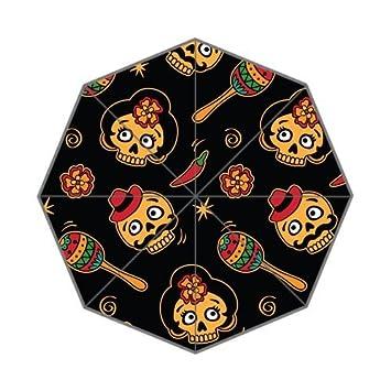 kouo moda paraguas personalizados arte flores y Calavera Vector ilustración picture plegable paraguas.