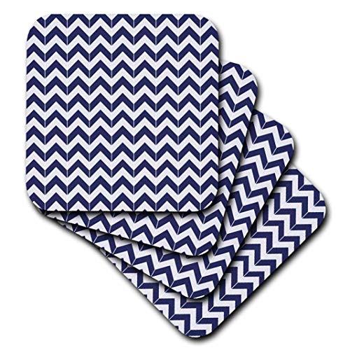 3dRose Navy Blue and White Chevron Herringbone - Soft Coasters, Set of 4 (CST_212474_1)