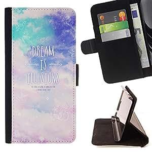 King Case - FOR Sony Xperia Z1 Compact D5503 - dream is illustons - Prima caja de la PU billetera de cuero con ranuras para tarjetas, efectivo Compartimiento desmontable y correa para la mu?eca