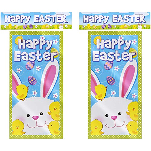 Gift Boutique 2 Happy Easter Bunny Door Cover and Banner Decorations Plastic Outdoor Sign Party Decor Accessories