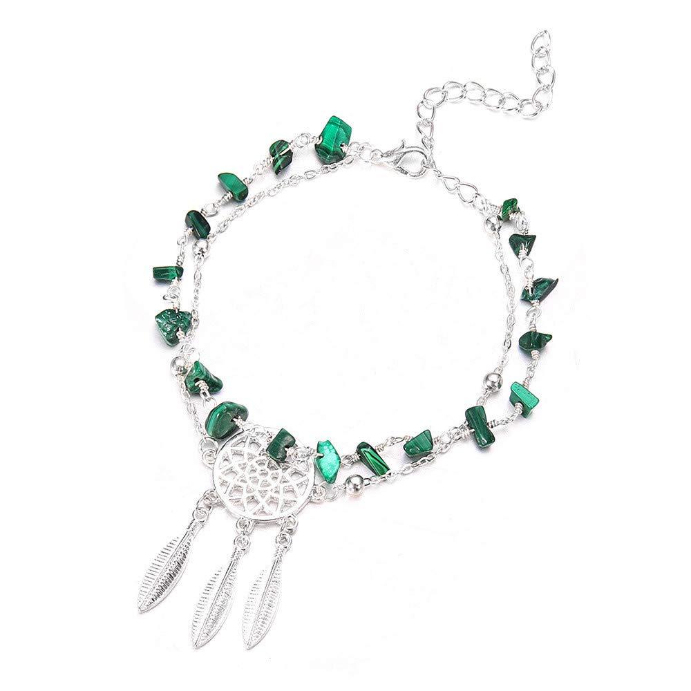 Ankle Bracelet,Saingace Women Lady Pretty Heart Ankle Chain Anklet Bracelet Barefoot Sandal Beach Foot Jewelry Toe Ring Anklet Chain Sparkly Ankle Bracelet (Silver)