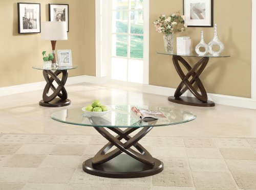 - Coaster Glass Top Round Coffee Table in Espresso